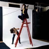 Bob Neuwirth shooting Bob Dylan at Jerry Schatzberg's studio in 1965