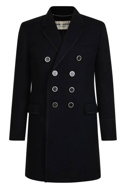 19. A black wool overcoat