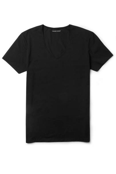 Black cotton V-neck T-shirt by Derek Rose
