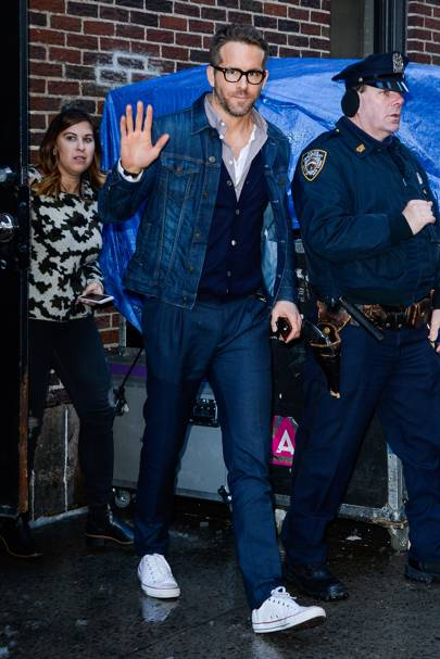 8. Tailored trousers and a denim jacket are a big yes