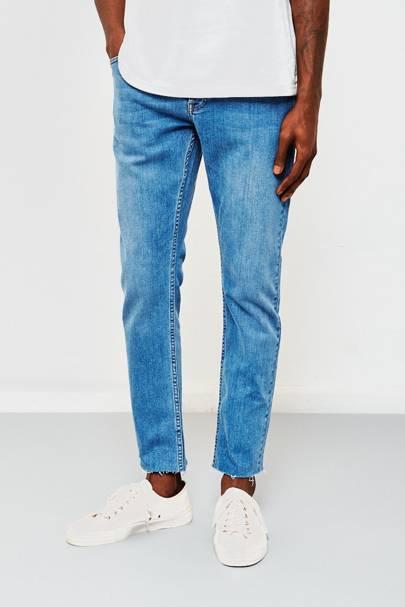The Idle Man slim-fit raw hem jeans