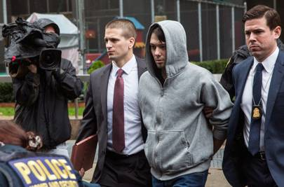 Martin Shkreli after being arrested for securities fraud on December 17, 2015