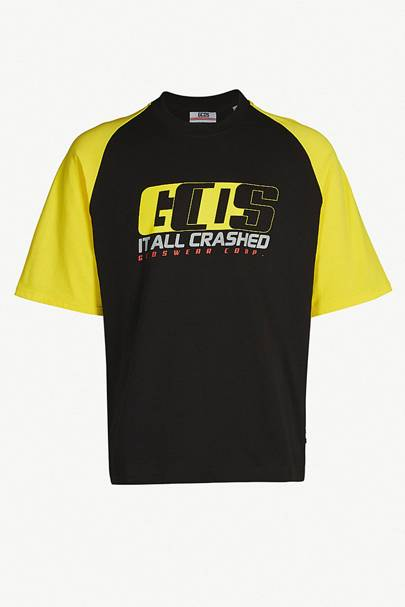 Graphic contrast-panel cotton-jersey T-shirt by GCDS