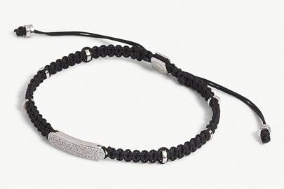 Macrame diamond baton silver bracelet by Tateossian