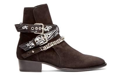 Bandana-strap suede boots by Amiri