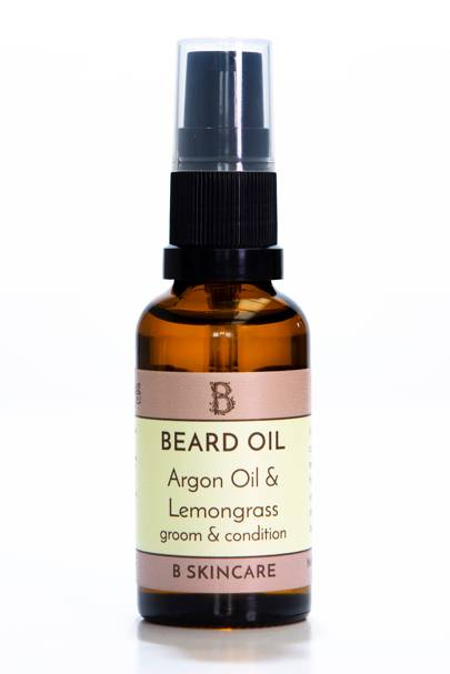The beard oil: Argon Oil & Lemongrass Groom & Condition by B Skincare