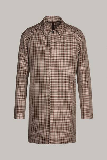 Check motif raincoat