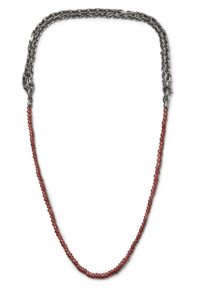 Burnished Sterling Silver And Garnet Necklace by Bottega Veneta