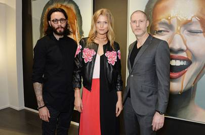 Mike Dargas, Toni Garrn and Jean-David Malat at Opera Gallery