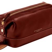 Leather washbag in smooth cognac by Aspinal Of London