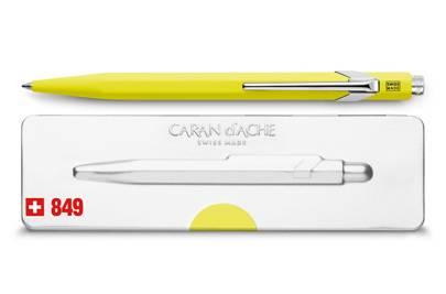Caran D'Ache 849 Popline fluoro yellow ballpoint pen