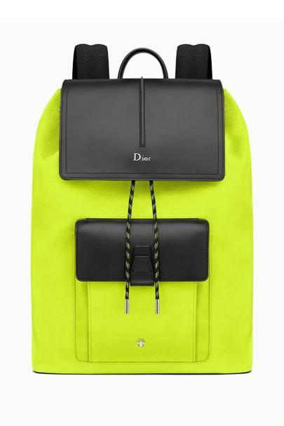 Black calfskin and yellow nylon rucksack by Dior