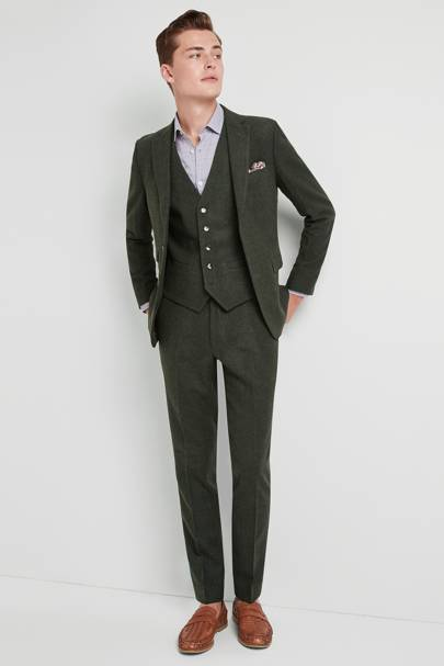 Moss London Skinny Fit Khaki Donegal Suit by Moss Bros