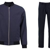 Boohooman.com tailored striped bomber jacket suit