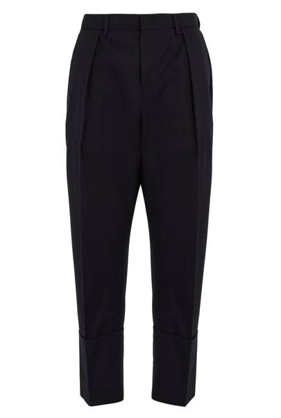 Tapered-leg cropped wool trousers by Wooyoungmi