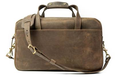 NO.56   Vintage Brown Leather Briefcase by Stock & Barrel Co.