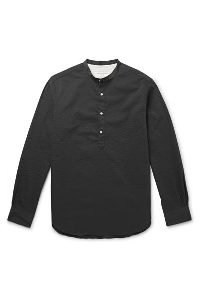Auguste slim-fit grandad-collar seersucker shirt by Officine Générale