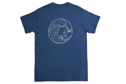 Dust Blue Wave Logo T-Shirt by Over Seas Apparel