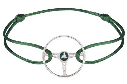 Racing Green Steering Wheel on British Green Cord by The Mechanists