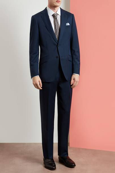 15. A navy blue single-breasted suit