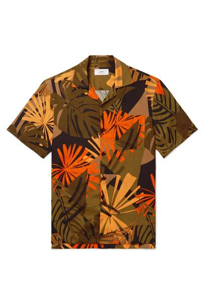Camp-collar printed woven shirt by Mr P