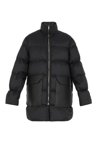 Funnel-neck quilted down coat by Rick Owens