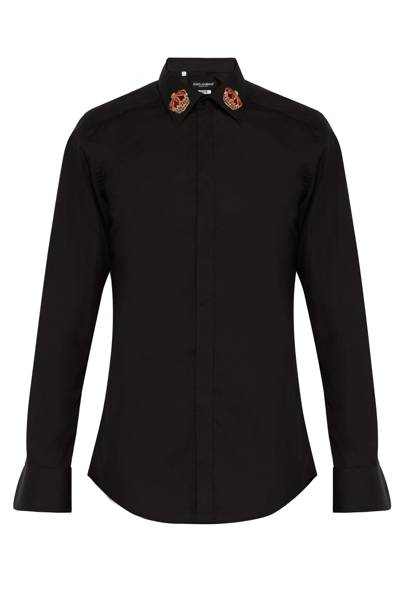 Martini slim-fit crown-embroidered shirt by Dolce & Gabbana
