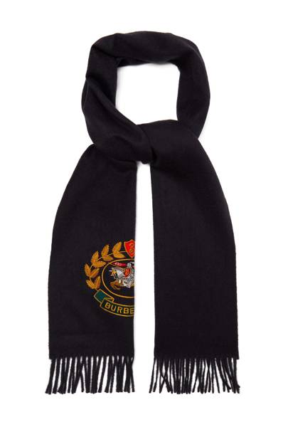 Unisex logo-crest cashmere scarf by Burberry