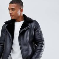 Faux shearling biker jacket by New Look