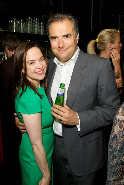 Louisa McCarthy and Dom McCarthy with his Peroni beer