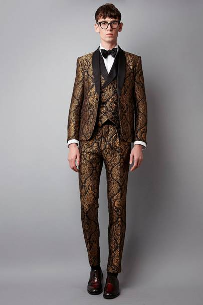 Joshua Kane 'The George' gold dragon silk dinner suit