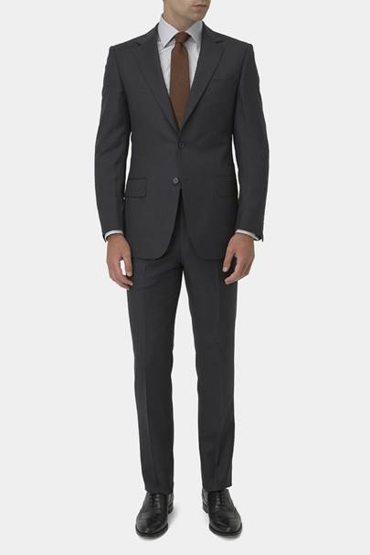 16. A charcoal single-breasted suit