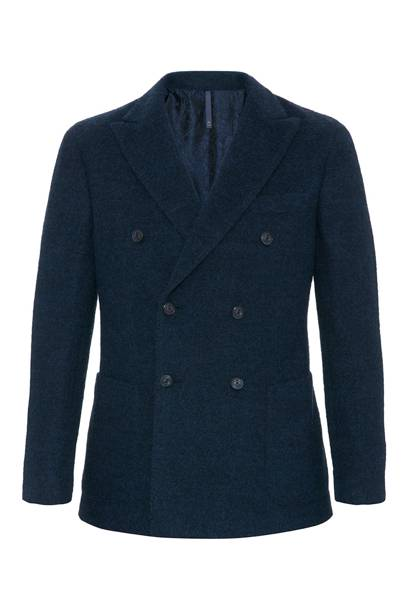 Montedoro double-breasted alpaca navy blazer