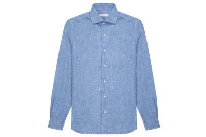 Portofino linen shirt, Blue Melange by Luca Faloni