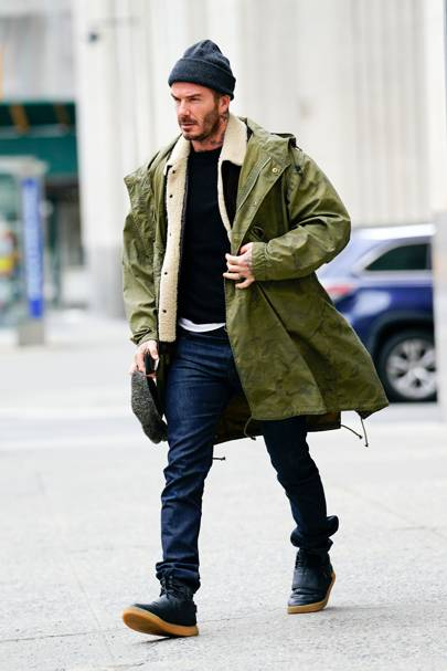 Invest in a parka like David Beckham