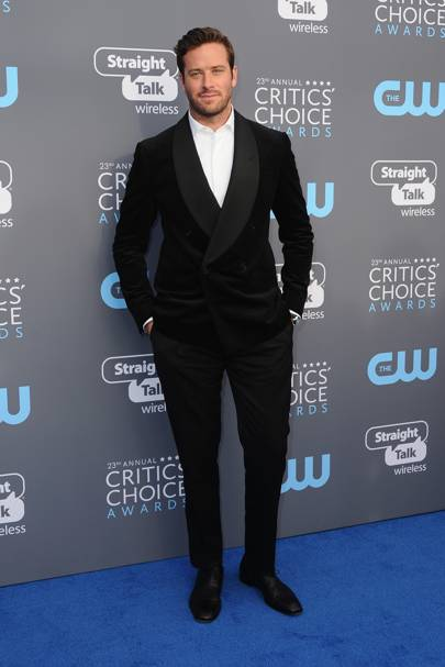 Armie Hammer in Ralph Lauren with Christian Louboutin shoes and a Montblanc watch and cuff links