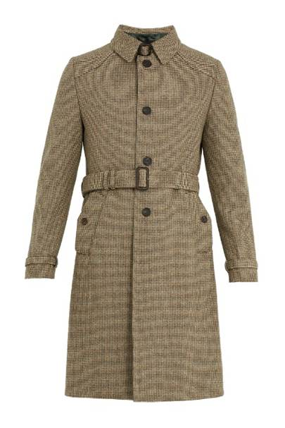 Single-breasted micro-checked wool overcoat by Prada