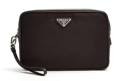 Prada Leather-Trimmed Nylon Wash Bag