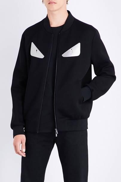 Fendi bug eye-appliquéd neoprene jacket