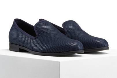 Duke & Dexter plated navy slippers
