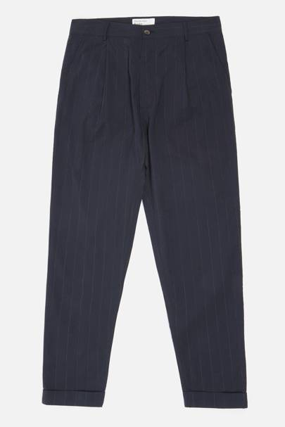 13. A pair of navy blue wool trousers (with pleats)