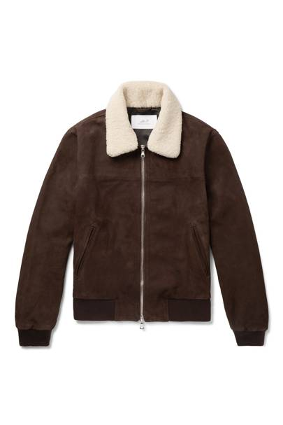 Shearling-trimmed suede bomber jacket by Mr P