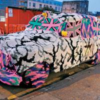 Olek's crochet London taxi