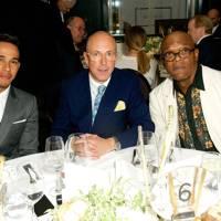 Lewis Hamilton, Dylan Jones and Samuel L Jackson