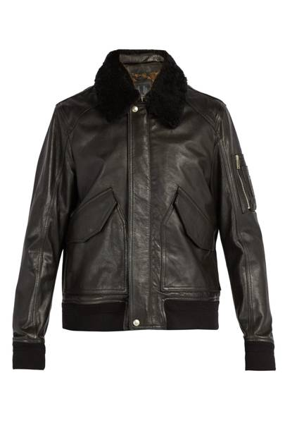 'Arne' shearling collar leather jacket by Belstaff