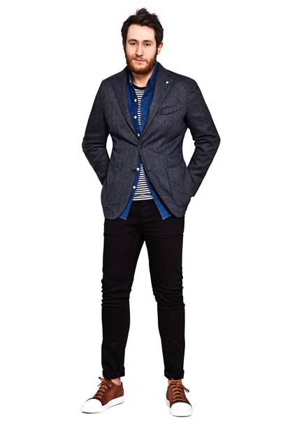 Blazer by Lubiam, £330. T-shirt by Sunspel, £60. Shirt by Levi's, £75, Jeans by Denham, £118.