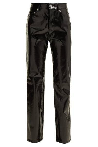 Straight-leg patent-leather trousers by Helmut Lang