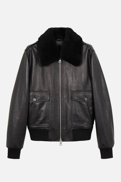 Zipped jacket with shearling collar by Ami