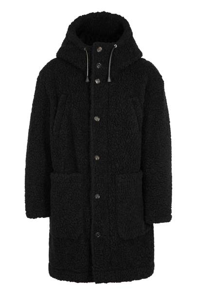 Black faux-shearling coat by DSquared2
