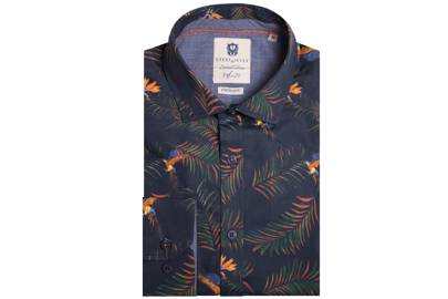 Tropical parrot print stretch shirt by Steel & Jelly